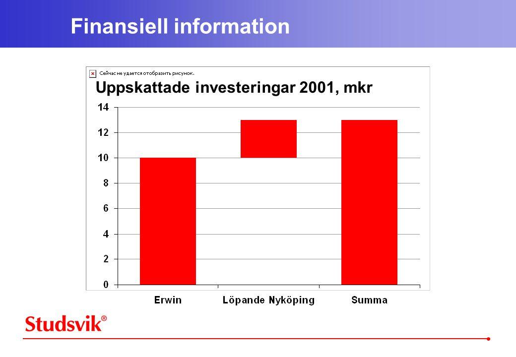 Finansiell information Uppskattade investeringar 2001, mkr