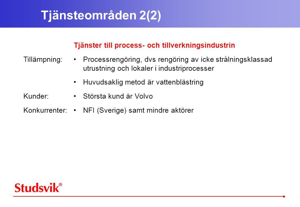 Tjänsteområden 2(2) Tillämpning: Kunder: Konkurrenter: Tjänster till process- och tillverkningsindustrin •Processrengöring, dvs rengöring av icke strålningsklassad utrustning och lokaler i industriprocesser •Huvudsaklig metod är vattenblästring •Största kund är Volvo •NFI (Sverige) samt mindre aktörer