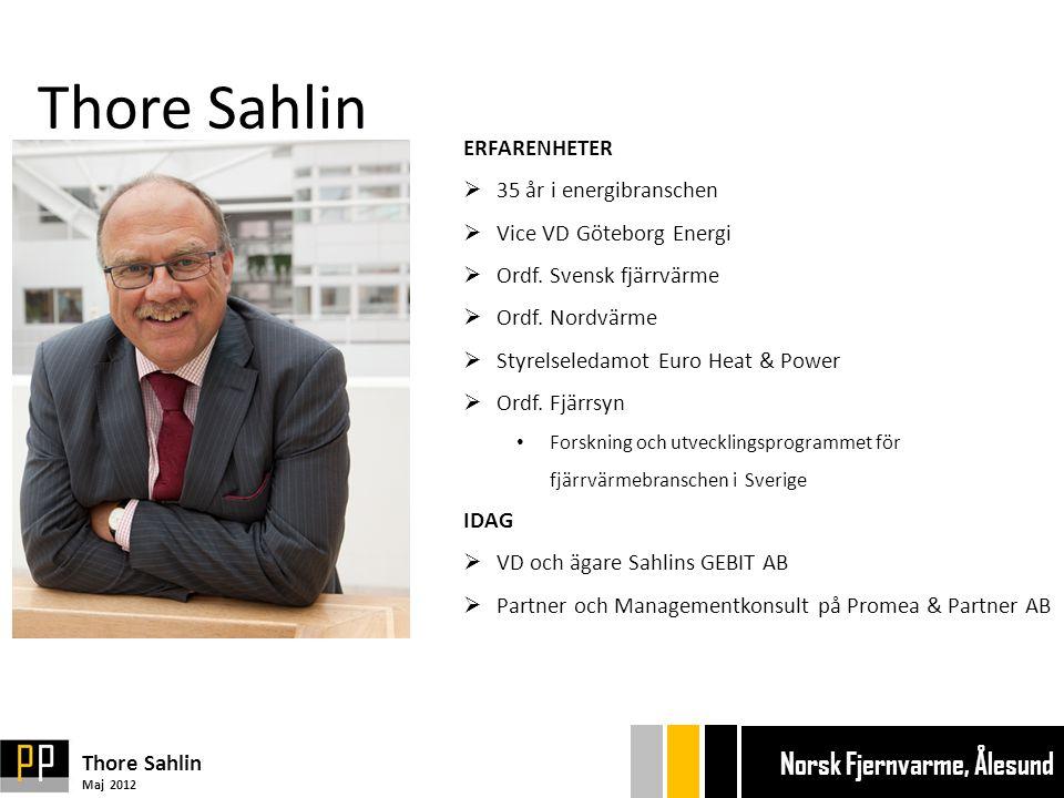 Thore Sahlin ERFARENHETER  35 år i energibranschen  Vice VD Göteborg Energi  Ordf.