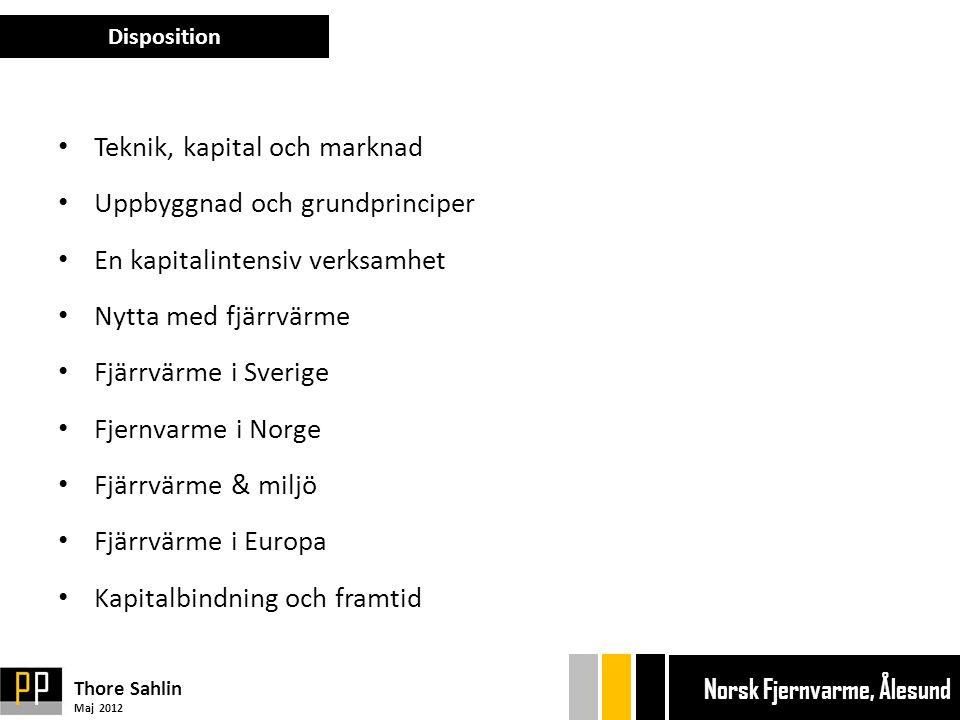 • Teknik, kapital och marknad • Uppbyggnad och grundprinciper • En kapitalintensiv verksamhet • Nytta med fjärrvärme • Fjärrvärme i Sverige • Fjernvarme i Norge • Fjärrvärme & miljö • Fjärrvärme i Europa • Kapitalbindning och framtid Disposition Thore Sahlin Maj 2012 Ekonom gänget Bryggan Ekonom gänget Bryggan Norsk Fjernvarme, Ålesund