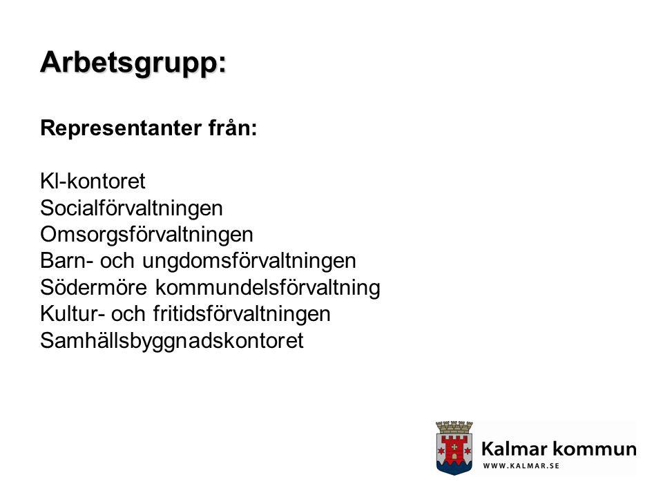 Arbetsgrupp: Representanter från: Kl-kontoret Socialförvaltningen Omsorgsförvaltningen Barn- och ungdomsförvaltningen Södermöre kommundelsförvaltning