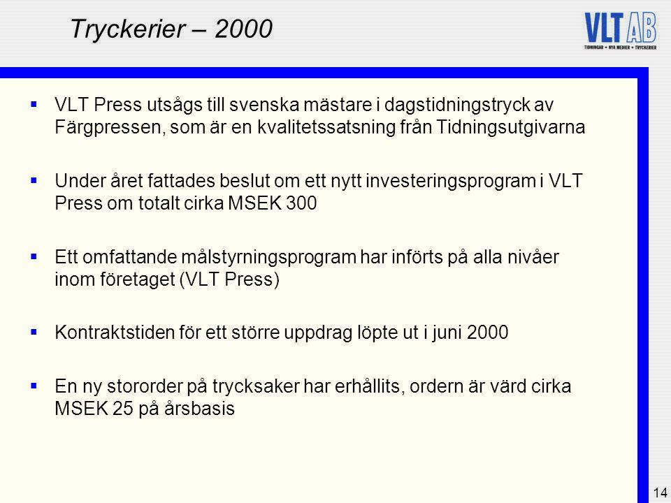 14 Tryckerier – 2000  VLT Press utsågs till svenska mästare i dagstidningstryck av Färgpressen, som är en kvalitetssatsning från Tidningsutgivarna 