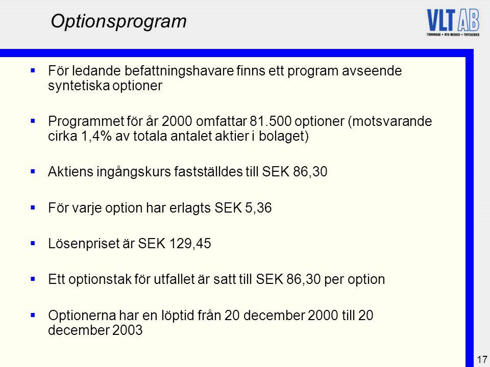17 Optionsprogram  För ledande befattningshavare finns ett program avseende syntetiska optioner  Programmet för år 2000 omfattar 81.500 optioner (mo