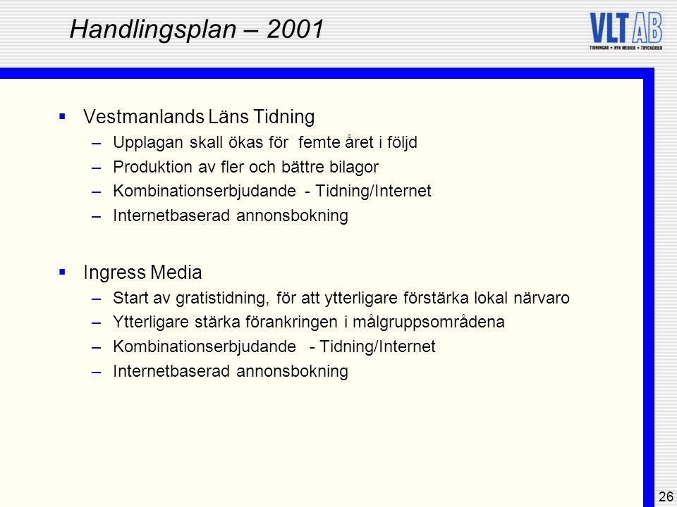 26 Handlingsplan – 2001  Vestmanlands Läns Tidning –Upplagan skall ökas för femte året i följd –Produktion av fler och bättre bilagor –Kombinationser
