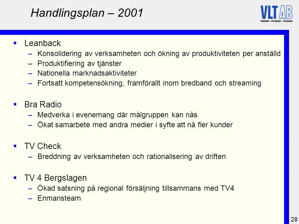 28 Handlingsplan – 2001  Leanback –Konsolidering av verksamheten och ökning av produktiviteten per anställd –Produktifiering av tjänster –Nationella