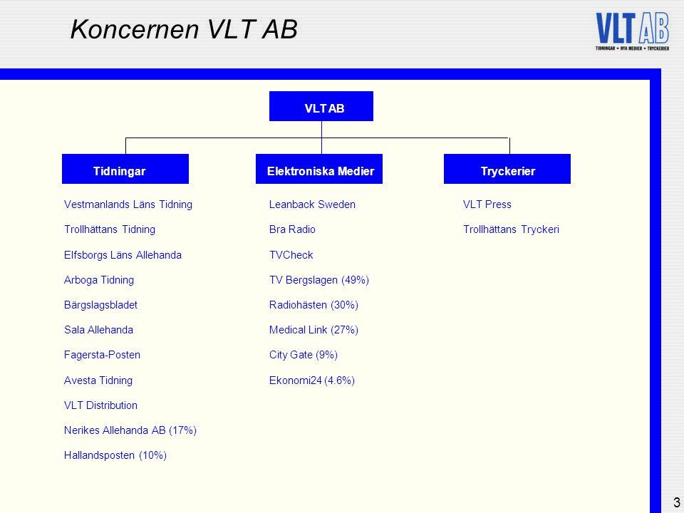 3 Koncernen VLT AB VLT AB TidningarElektroniska MedierTryckerier Vestmanlands Läns Tidning Trollhättans Tidning Elfsborgs Läns Allehanda Arboga Tidnin