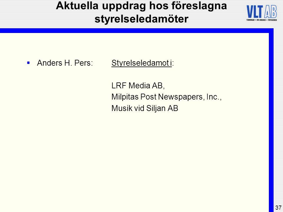 37 Aktuella uppdrag hos föreslagna styrelseledamöter  Anders H. Pers:Styrelseledamot i: LRF Media AB, Milpitas Post Newspapers, Inc., Musik vid Silja