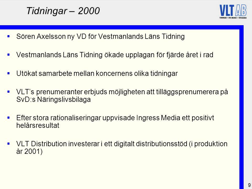 9 Tidningar – 2000  Sören Axelsson ny VD för Vestmanlands Läns Tidning  Vestmanlands Läns Tidning ökade upplagan för fjärde året i rad  Utökat sama