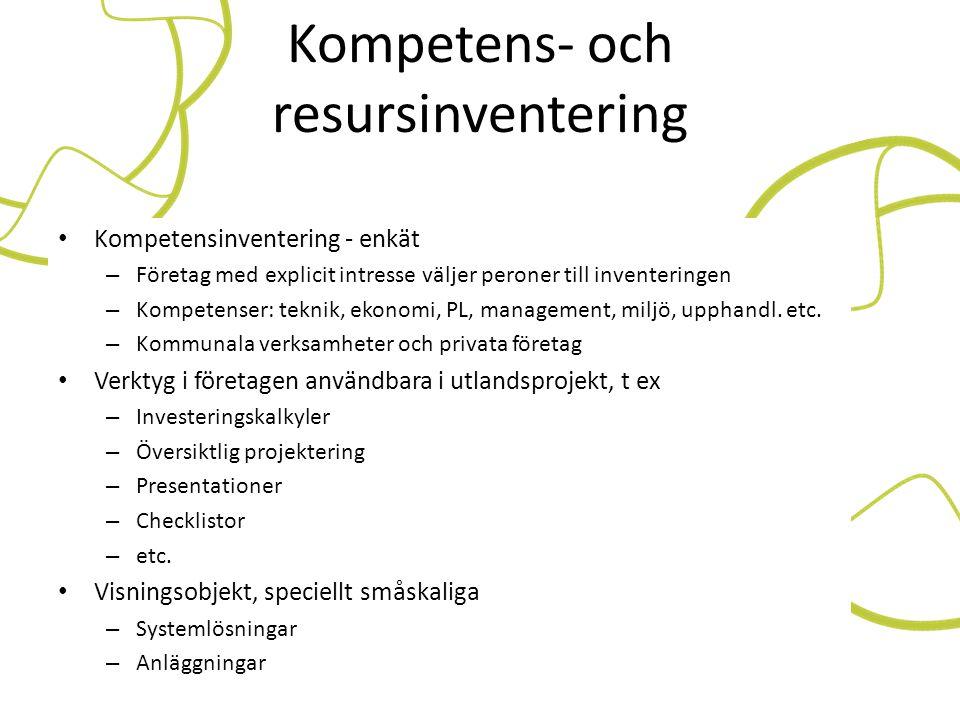 Kompetens- och resursinventering • Kompetensinventering - enkät – Företag med explicit intresse väljer peroner till inventeringen – Kompetenser: tekni