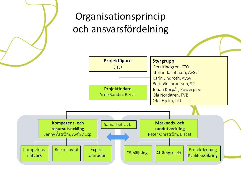 Organisationsprincip och ansvarsfördelning Projektägare CTÖ Styrgrupp Gert Kindgren, CTÖ Stellan Jacobsson, AvSv Karin Lindroth, AvSv Berit Gullbranss