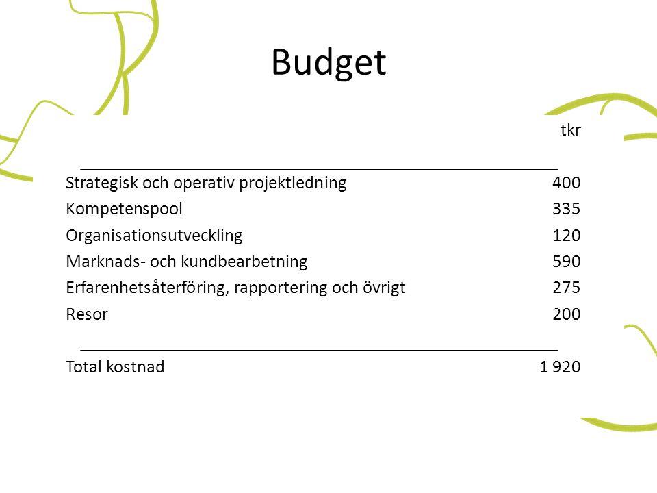 Budget tkr Strategisk och operativ projektledning400 Kompetenspool335 Organisationsutveckling120 Marknads- och kundbearbetning590 Erfarenhetsåterförin