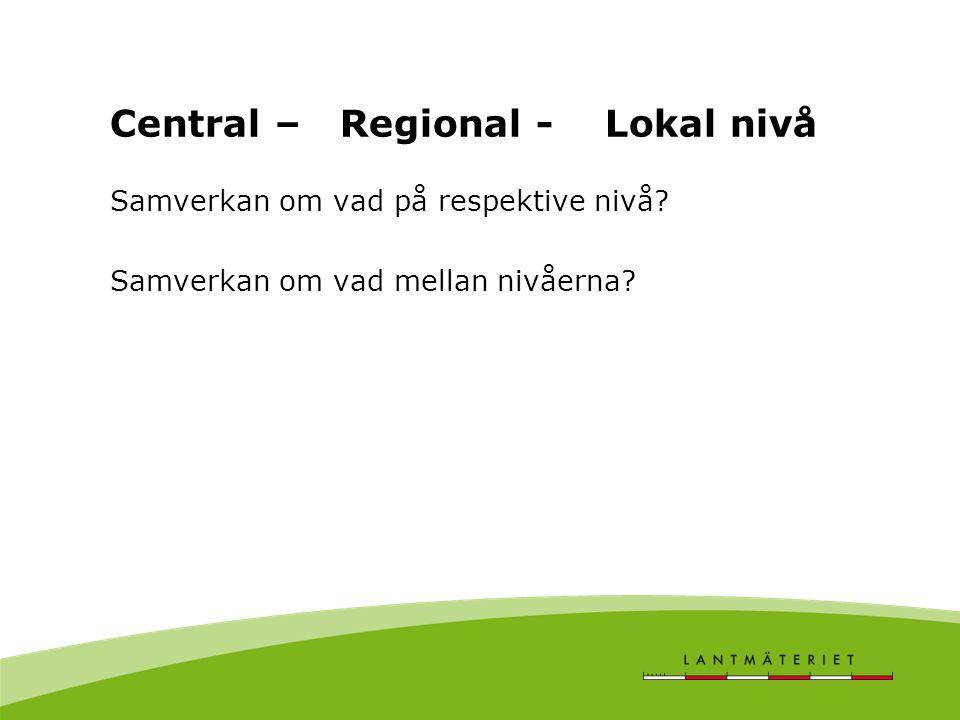 Central – Regional - Lokal nivå Samverkan om vad på respektive nivå.