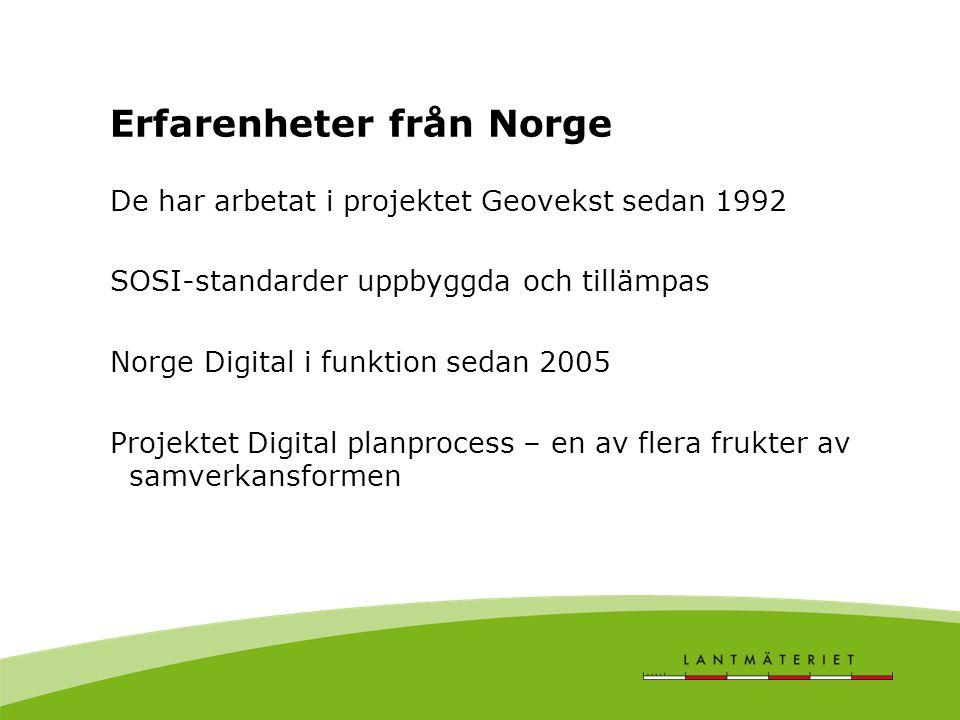 Erfarenheter från Norge De har arbetat i projektet Geovekst sedan 1992 SOSI-standarder uppbyggda och tillämpas Norge Digital i funktion sedan 2005 Projektet Digital planprocess – en av flera frukter av samverkansformen