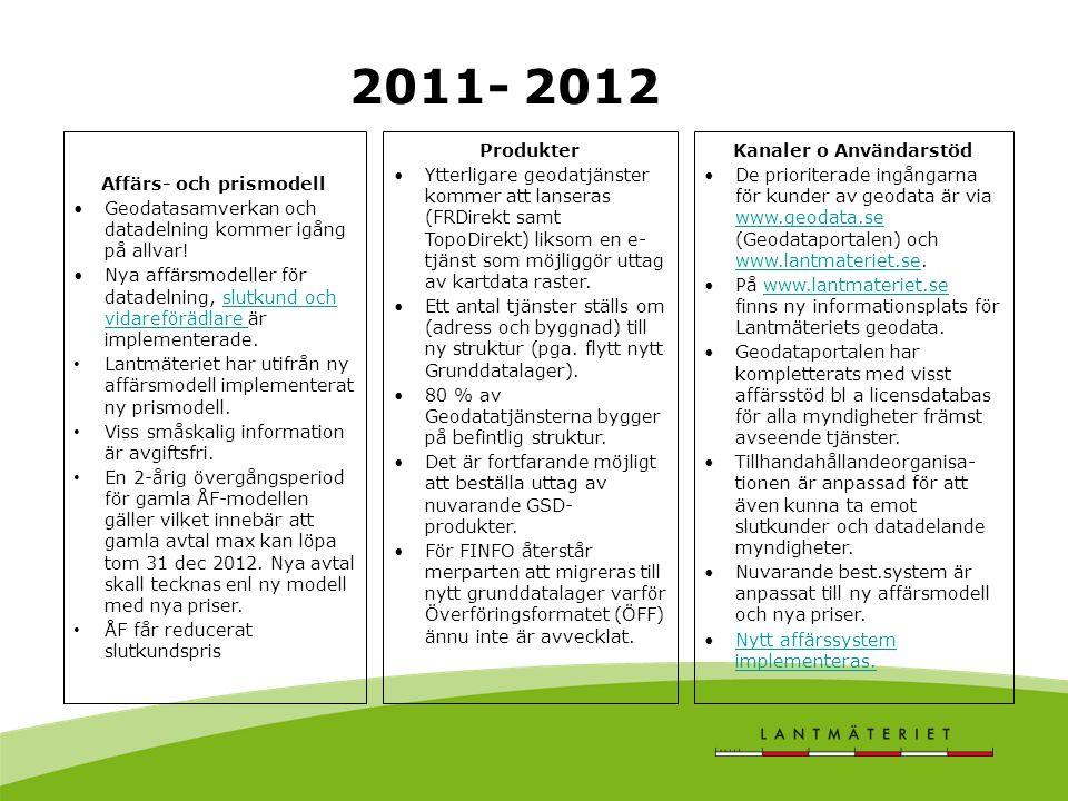 2011- 2012 Produkter •Ytterligare geodatjänster kommer att lanseras (FRDirekt samt TopoDirekt) liksom en e- tjänst som möjliggör uttag av kartdata raster.
