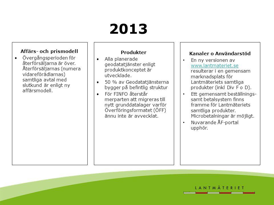 2013 Produkter •Alla planerade geodatatjänster enligt produktkonceptet är utvecklade.