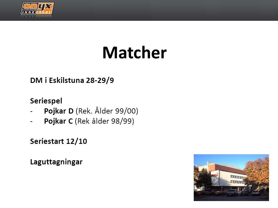 Matcher DM i Eskilstuna 28-29/9 Seriespel -Pojkar D (Rek.