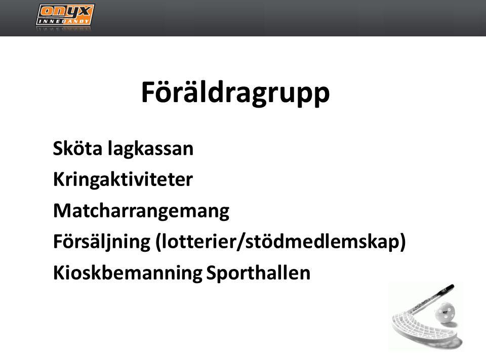 Föräldragrupp Sköta lagkassan Kringaktiviteter Matcharrangemang Försäljning (lotterier/stödmedlemskap) Kioskbemanning Sporthallen