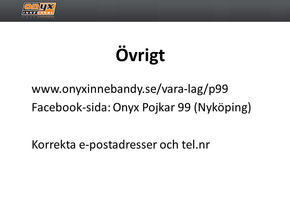 Övrigt www.onyxinnebandy.se/vara-lag/p99 Facebook-sida: Onyx Pojkar 99 (Nyköping) Korrekta e-postadresser och tel.nr