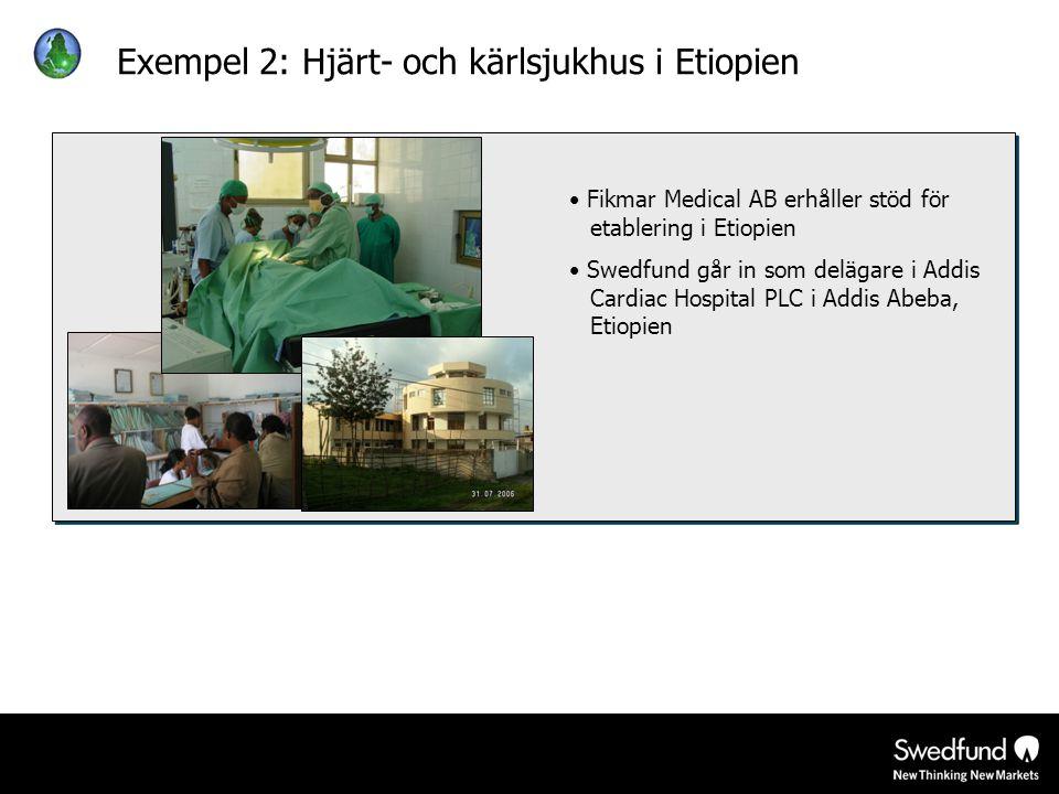 Exempel 2: Hjärt- och kärlsjukhus i Etiopien • Fikmar Medical AB erhåller stöd för etablering i Etiopien • Swedfund går in som delägare i Addis Cardia