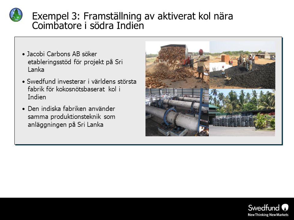 Exempel 3: Framställning av aktiverat kol nära Coimbatore i södra Indien • Jacobi Carbons AB söker etableringsstöd för projekt på Sri Lanka • Swedfund