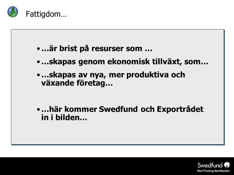•…är brist på resurser som … •…skapas genom ekonomisk tillväxt, som… •…skapas av nya, mer produktiva och växande företag… •…här kommer Swedfund och Ex