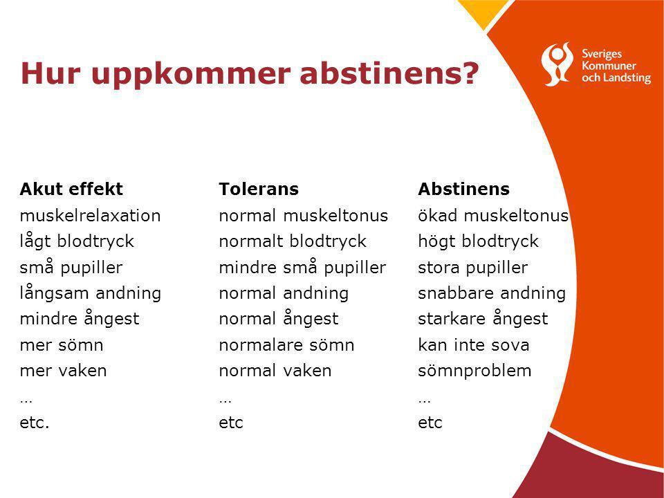 Hur uppkommer abstinens? Akut effektToleransAbstinens muskelrelaxationnormal muskeltonusökad muskeltonus lågt blodtrycknormalt blodtryckhögt blodtryck