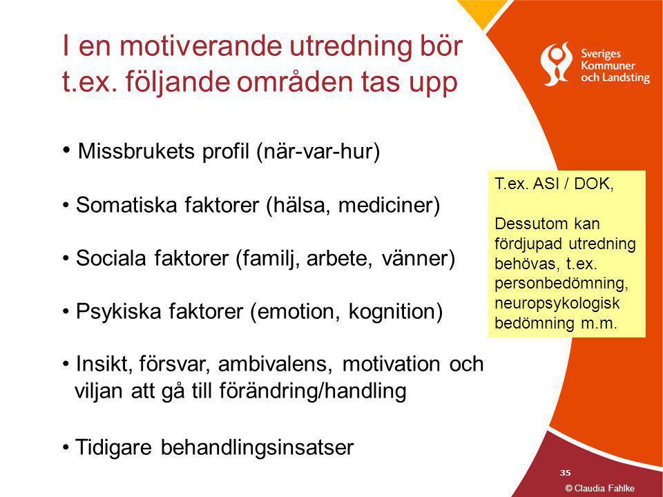 35 I en motiverande utredning bör t.ex. följande områden tas upp • Missbrukets profil (när-var-hur) • Somatiska faktorer (hälsa, mediciner) • Sociala