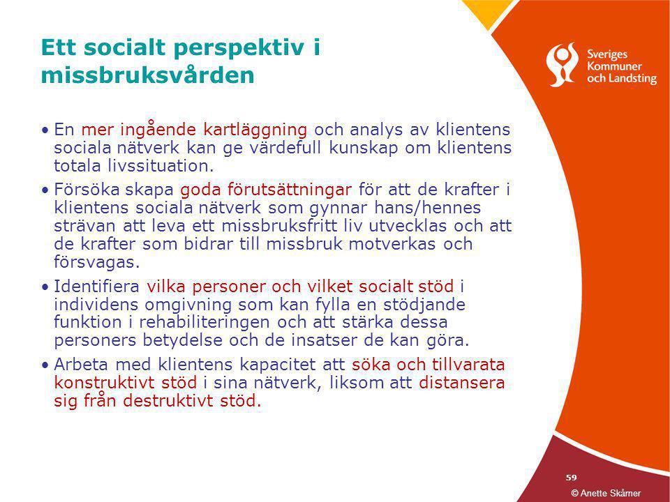 59 Ett socialt perspektiv i missbruksvården •En mer ingående kartläggning och analys av klientens sociala nätverk kan ge värdefull kunskap om klienten