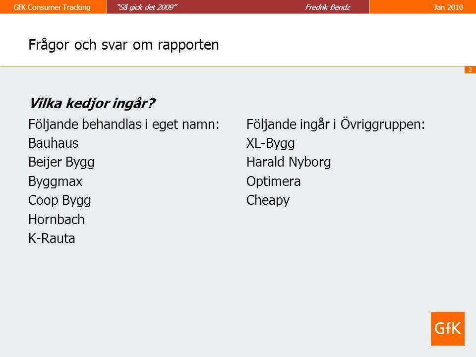 3 GfK Consumer Tracking Så gick det 2009 Fredrik BendzJan 2010 Frågor och svar om rapporten Antal hushåll = Antalet hushåll som handlat Bygg, verktyg och Trädgård på Kedja X minst en gång under året Köparandel = Andelen hushåll som handlat på Kedja X i % av alla hushåll som handlat Bygg, verktyg och Trädgård.