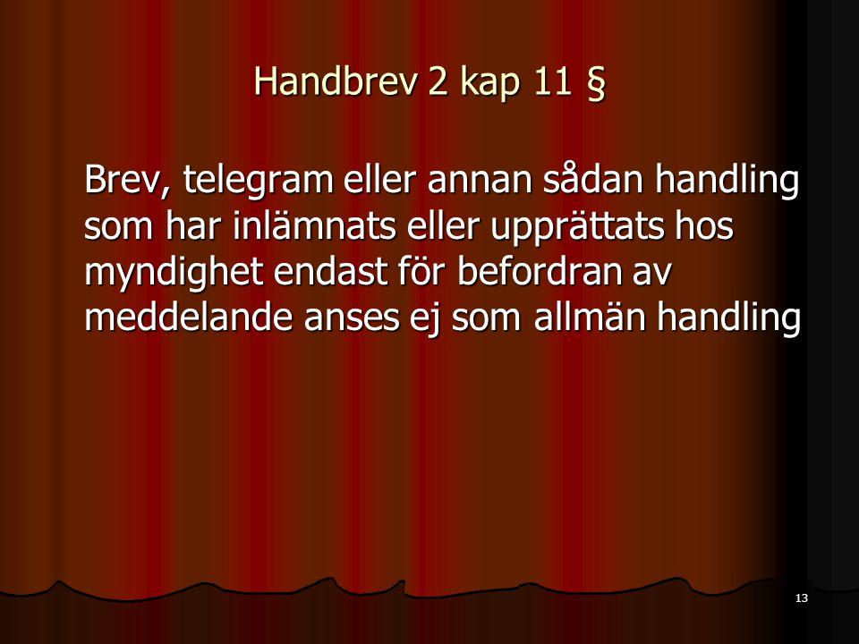 13 Handbrev 2 kap 11 § Brev, telegram eller annan sådan handling som har inlämnats eller upprättats hos myndighet endast för befordran av meddelande anses ej som allmän handling