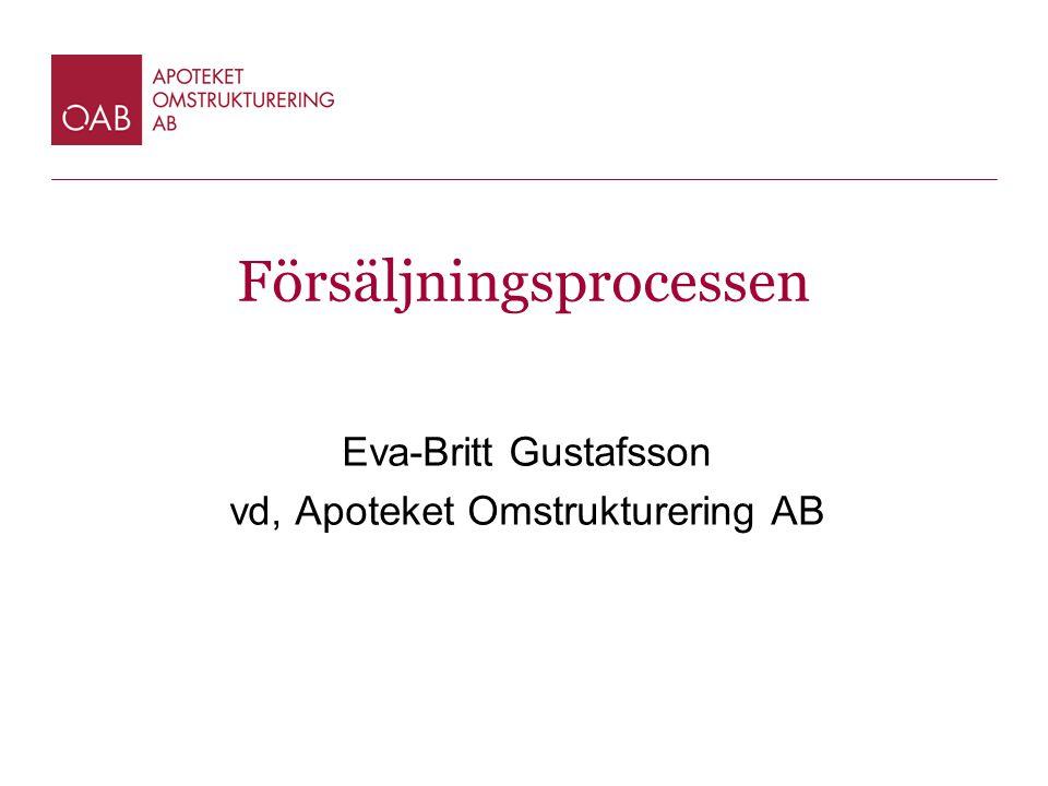 Försäljningsprocessen Eva-Britt Gustafsson vd, Apoteket Omstrukturering AB