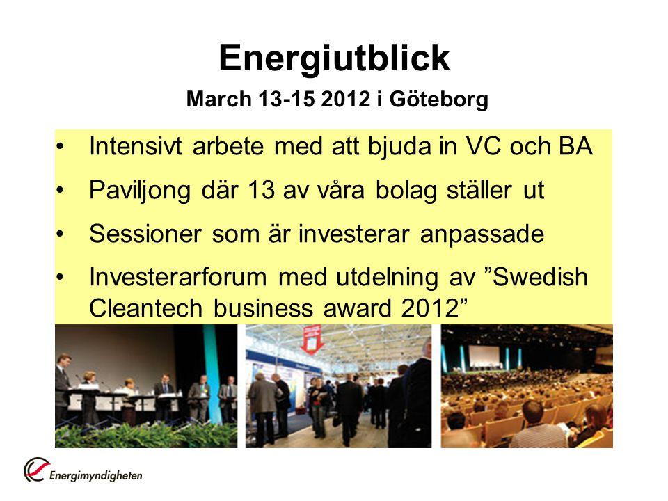 Energiutblick March 13-15 2012 i Göteborg •Intensivt arbete med att bjuda in VC och BA •Paviljong där 13 av våra bolag ställer ut •Sessioner som är investerar anpassade •Investerarforum med utdelning av Swedish Cleantech business award 2012