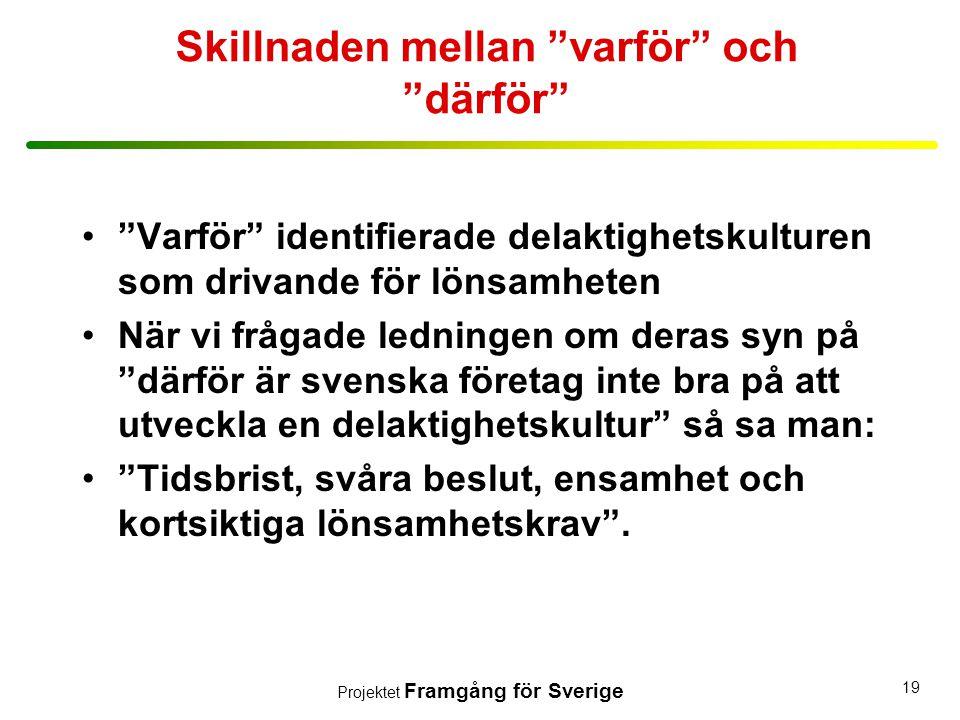 """Projektet Framgång för Sverige 19 Skillnaden mellan """"varför"""" och """"därför"""" •""""Varför"""" identifierade delaktighetskulturen som drivande för lönsamheten •N"""