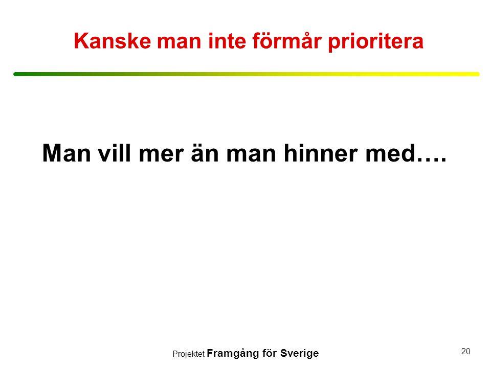 Projektet Framgång för Sverige 20 Kanske man inte förmår prioritera Man vill mer än man hinner med….