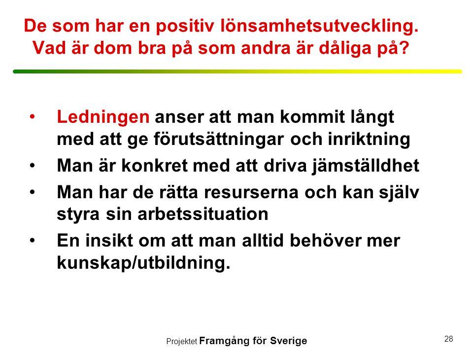 Projektet Framgång för Sverige 28 De som har en positiv lönsamhetsutveckling. Vad är dom bra på som andra är dåliga på? •Ledningen anser att man kommi