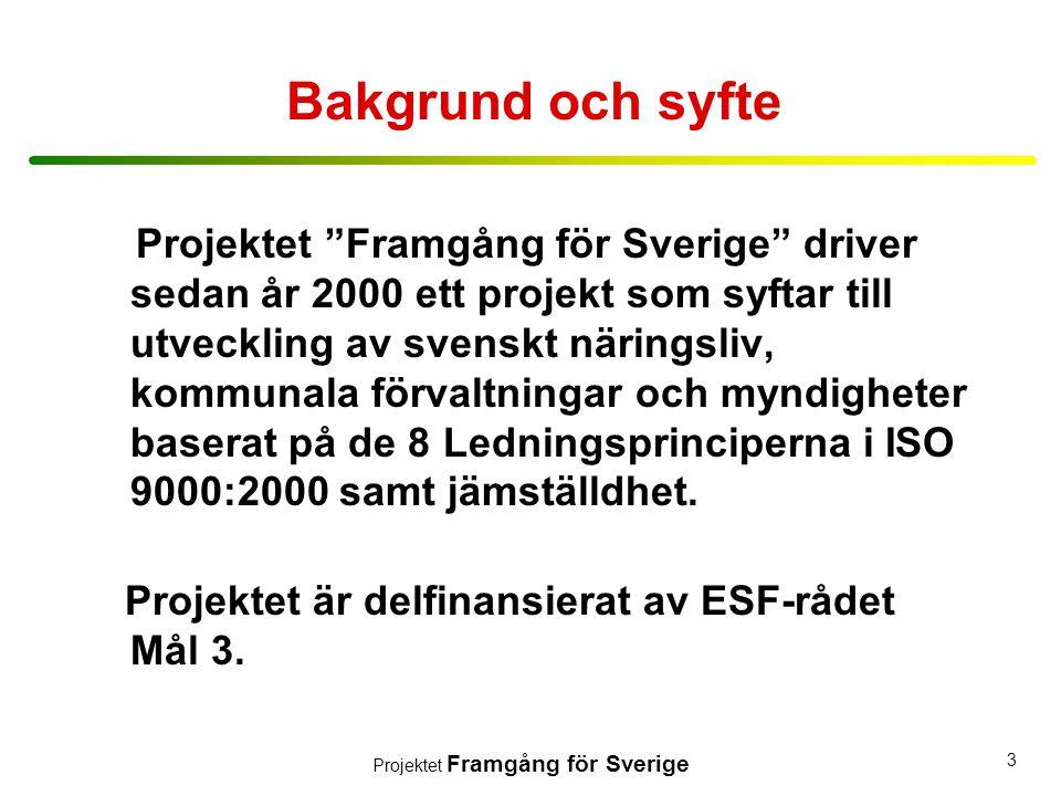 """Projektet Framgång för Sverige 3 Bakgrund och syfte Projektet """"Framgång för Sverige"""" driver sedan år 2000 ett projekt som syftar till utveckling av sv"""