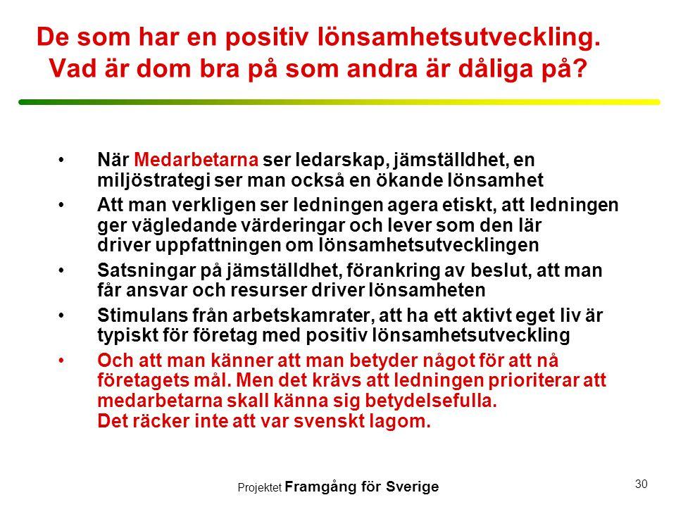 Projektet Framgång för Sverige 30 De som har en positiv lönsamhetsutveckling. Vad är dom bra på som andra är dåliga på? •När Medarbetarna ser ledarska