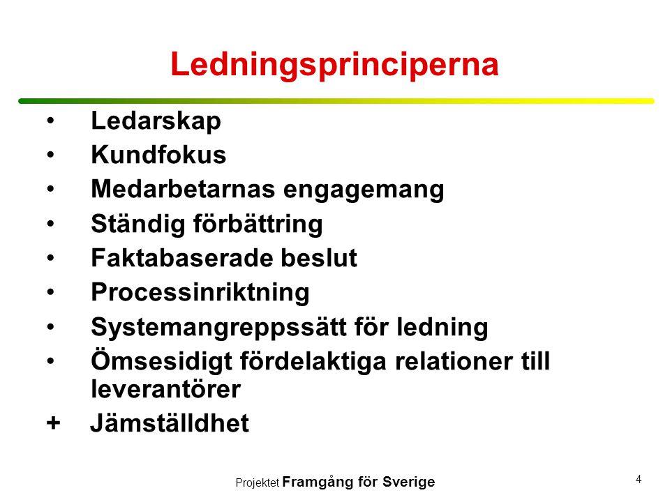 Projektet Framgång för Sverige 4 •Ledarskap •Kundfokus •Medarbetarnas engagemang •Ständig förbättring •Faktabaserade beslut •Processinriktning •System