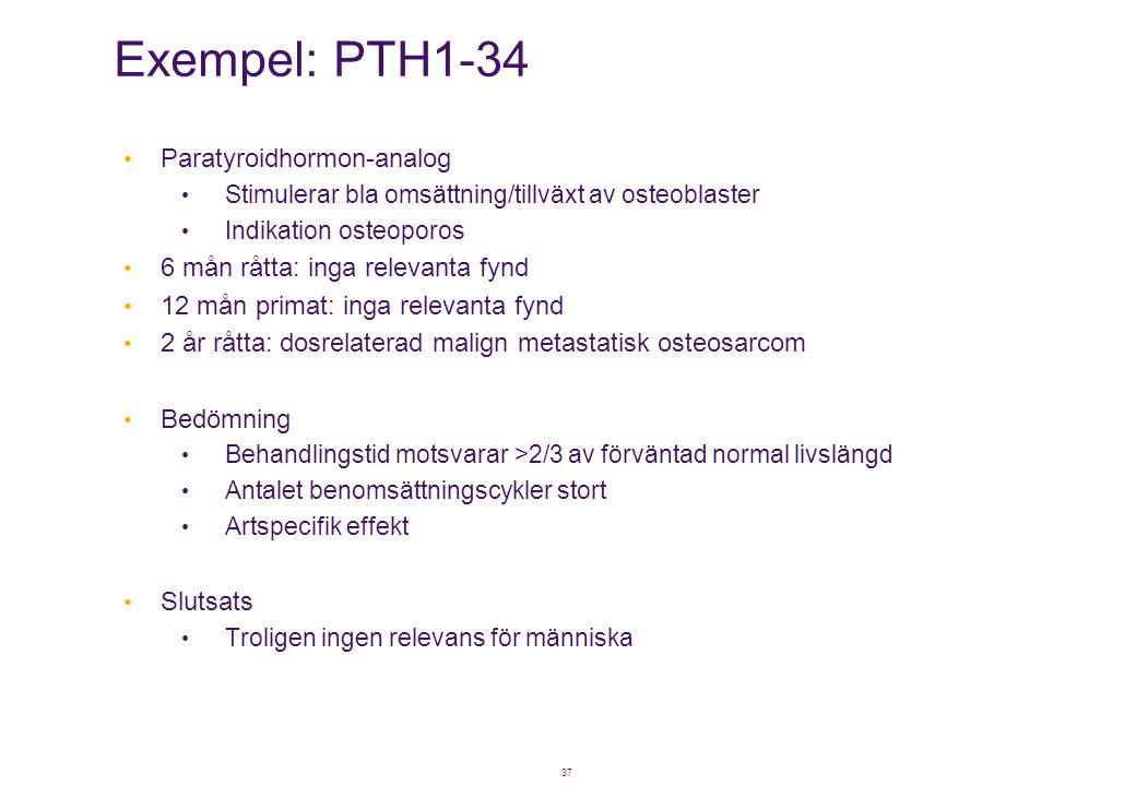 37 Exempel: PTH1-34 • Paratyroidhormon-analog • Stimulerar bla omsättning/tillväxt av osteoblaster • Indikation osteoporos • 6 mån råtta: inga relevan