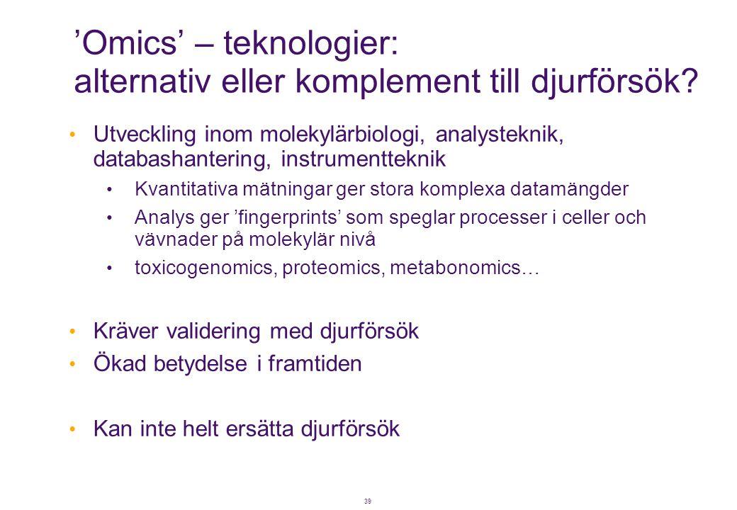 39 'Omics' – teknologier: alternativ eller komplement till djurförsök? • Utveckling inom molekylärbiologi, analysteknik, databashantering, instrumentt