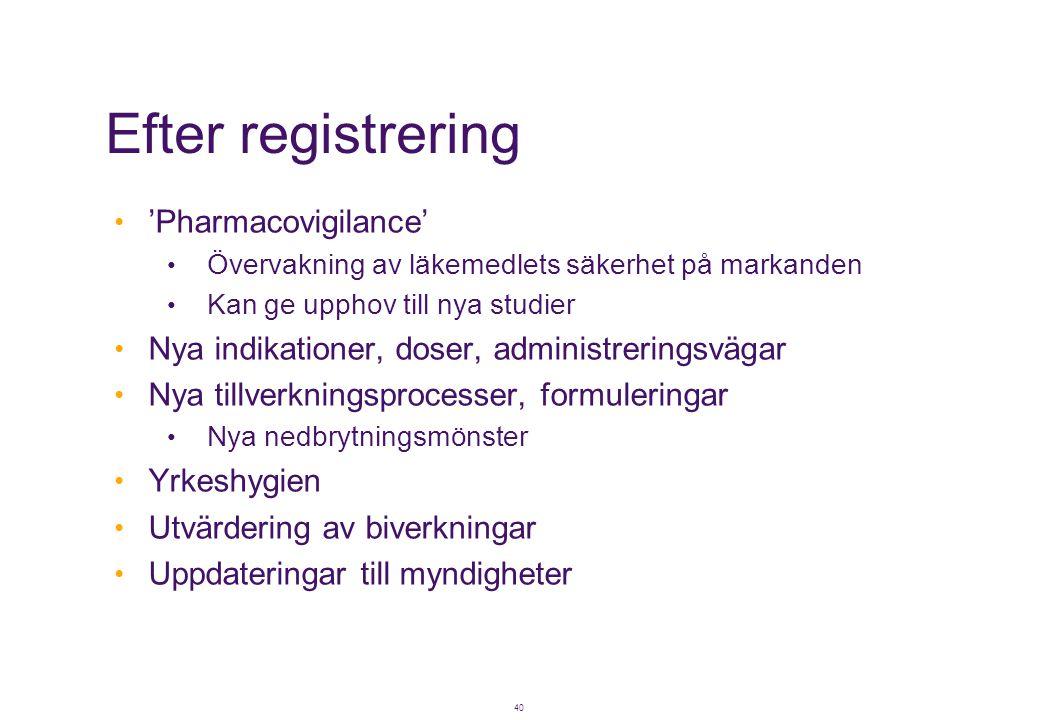 40 Efter registrering • 'Pharmacovigilance' • Övervakning av läkemedlets säkerhet på markanden • Kan ge upphov till nya studier • Nya indikationer, do
