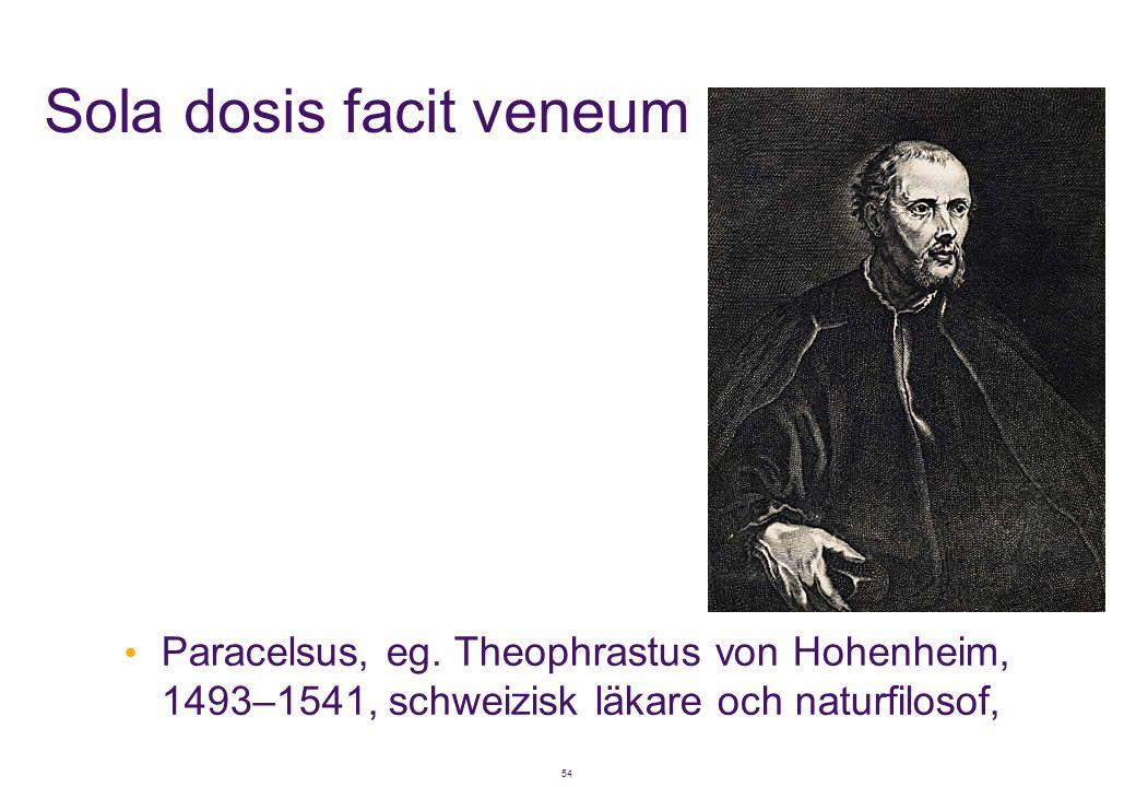 54 Sola dosis facit veneum • Paracelsus, eg. Theophrastus von Hohenheim, 1493–1541, schweizisk läkare och naturfilosof,