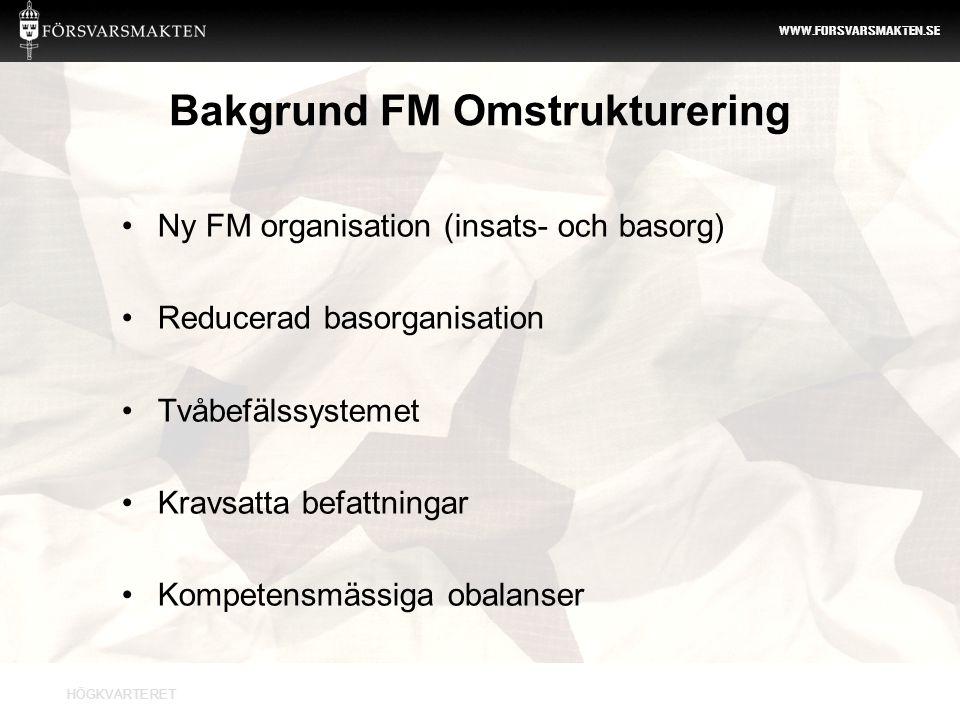HÖGKVARTERET WWW.FORSVARSMAKTEN.SE Syfte FM omstrukturering 2012 Bemanna FM organisation utifrån verksamhetens behov med befattningskrav och den enskildes kompetens som grund.