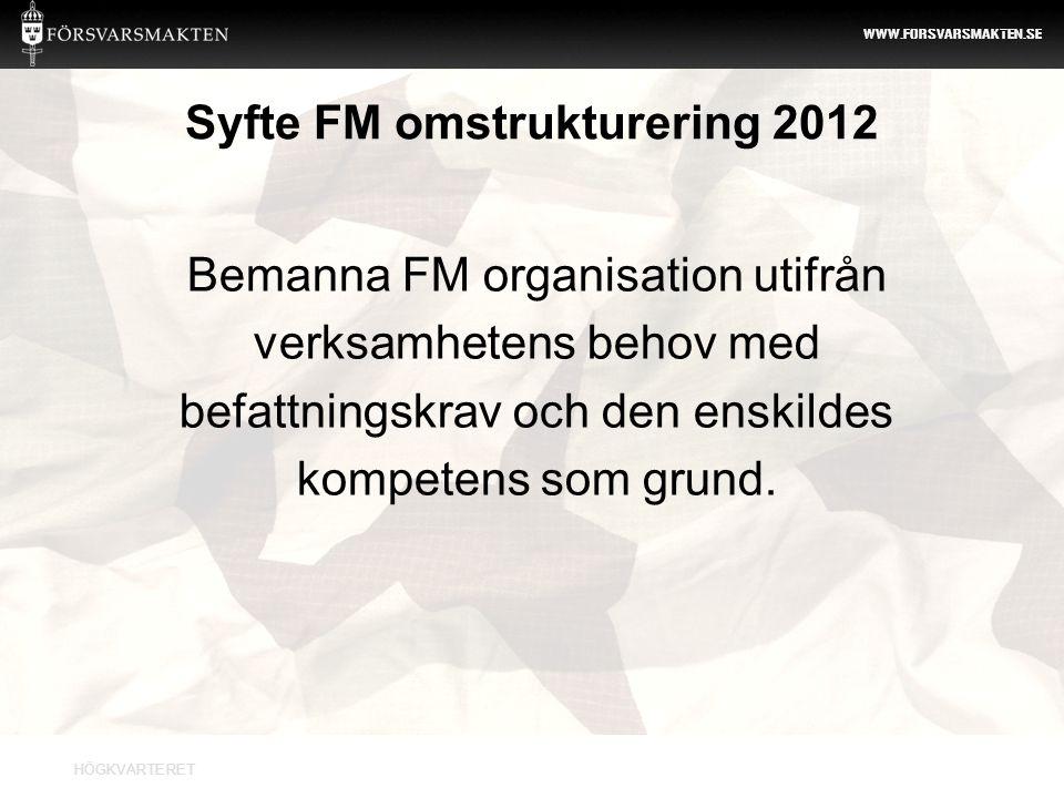 HÖGKVARTERET WWW.FORSVARSMAKTEN.SE Syfte FM omstrukturering 2012 Bemanna FM organisation utifrån verksamhetens behov med befattningskrav och den enski