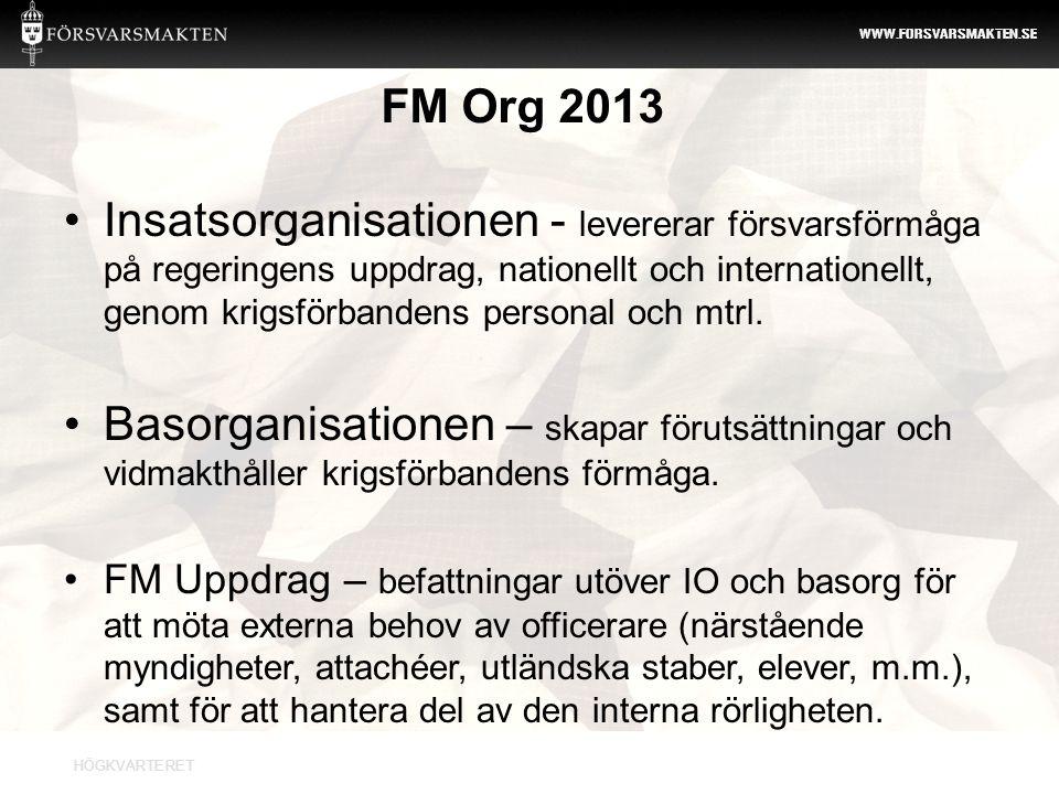 HÖGKVARTERET WWW.FORSVARSMAKTEN.SE FM Org 2013 •Insatsorganisationen - levererar försvarsförmåga på regeringens uppdrag, nationellt och internationell