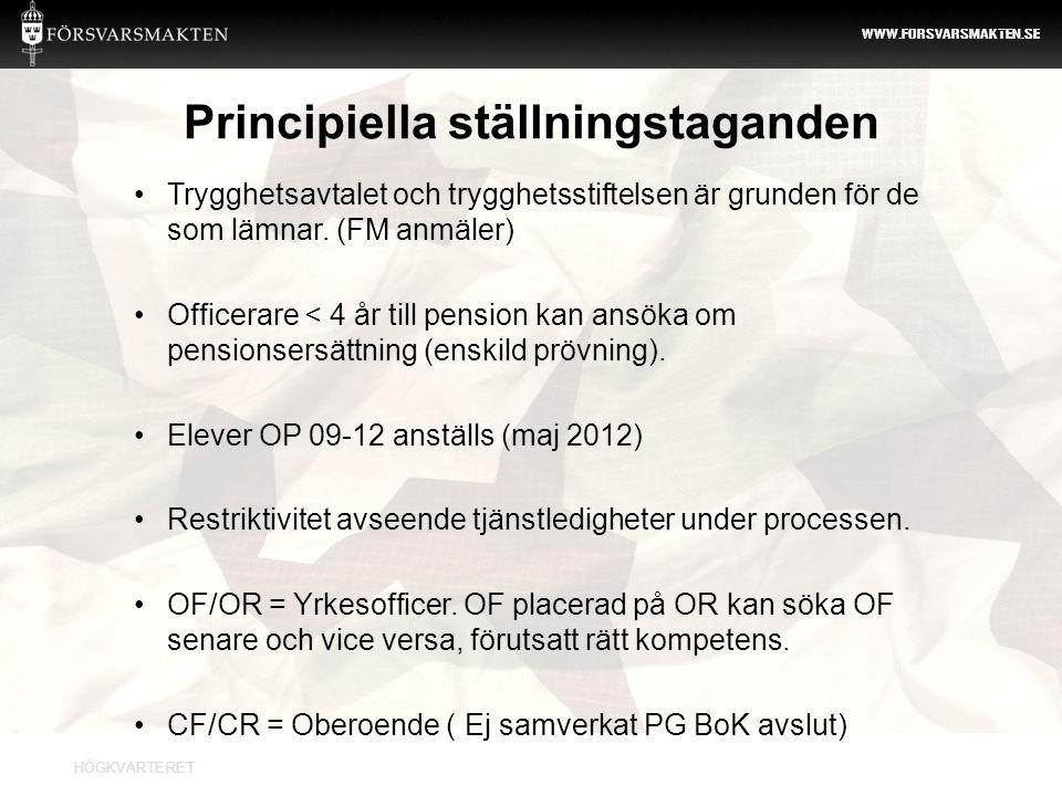 HÖGKVARTERET WWW.FORSVARSMAKTEN.SE • En svensk veteranpolitik – Veteransoldatutredningen (SOU 2008:91) • Modern personalförsörjning för ett användbart försvar (prop.