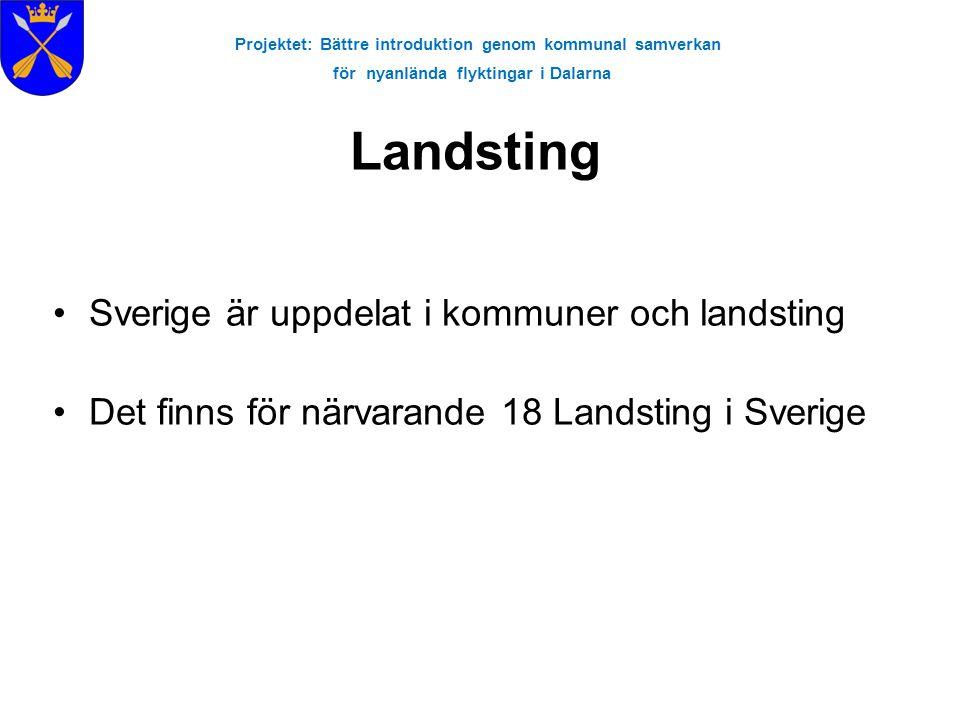 Projektet: Bättre introduktion genom kommunal samverkan för nyanlända flyktingar i Dalarna Landsting •Sverige är uppdelat i kommuner och landsting •Det finns för närvarande 18 Landsting i Sverige