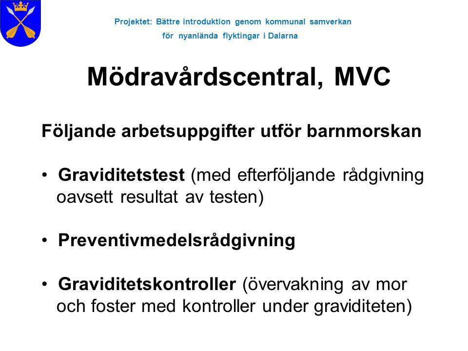 Projektet: Bättre introduktion genom kommunal samverkan för nyanlända flyktingar i Dalarna Hälso- och sjukvård för kvinnor •Mammografi •Mödravårdcentral