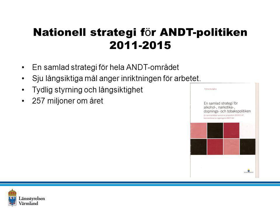 Nationell strategi f ö r ANDT-politiken 2011-2015 •En samlad strategi för hela ANDT-området •Sju långsiktiga mål anger inriktningen för arbetet. •Tydl