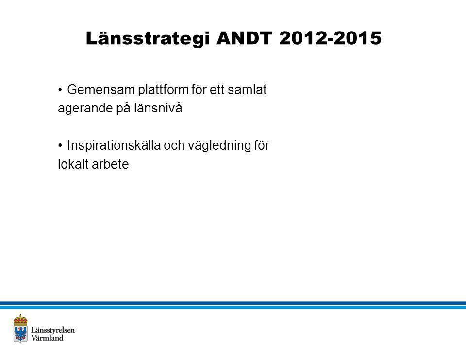 Länsstrategi ANDT 2012-2015 •Gemensam plattform för ett samlat agerande på länsnivå •Inspirationskälla och vägledning för lokalt arbete